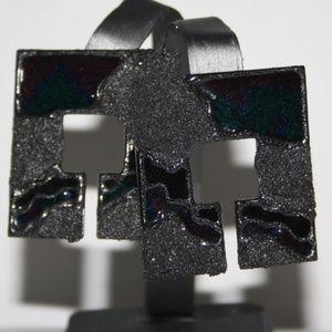 Large vintage retro square black earrings
